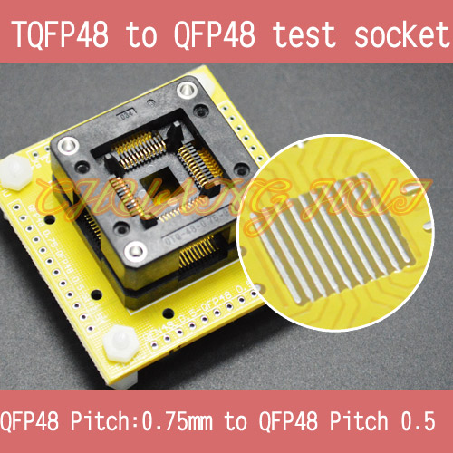 TQFP48 to QFP48 test socket QFP48 OTQ-48-0.75-01 socket LQFP48 FPQ48 0.75mm to QFP48 0.5mm socket tms320f28335 tms320f28335ptpq lqfp 176