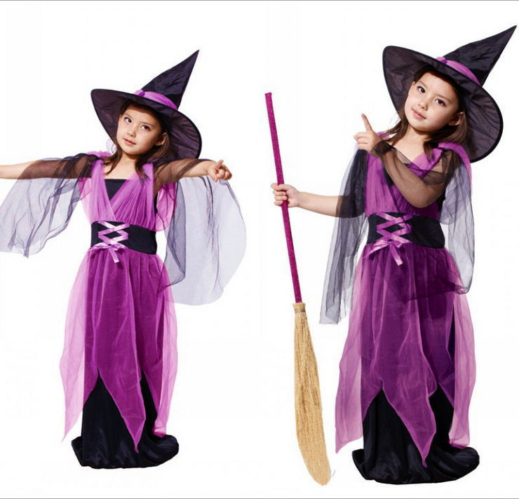 girls gothic witch costumes kids child halloween costume for girls Cosplay Christmas Halloween Fancy Dresses carnaval purple