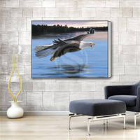 J627 12 Custom Eagle Artwork Painting Pattern Classic Canvas Prints Realistic DIY Oil Painting Fabric Printed