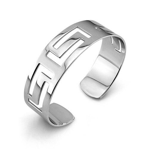 Cuff bangle pulseira de prata moda OL elegante oco 925