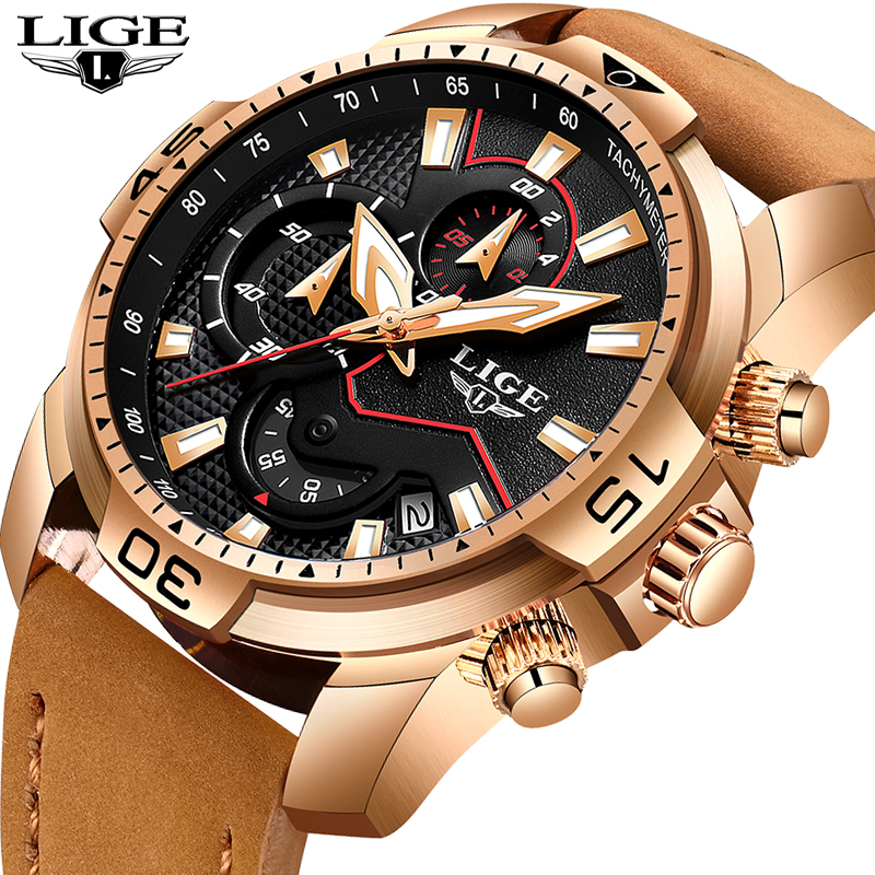 LIGE 2019 Fashion Men's Sport Watch Men Analog Quartz Watches Waterproof Date Military Multifunction Wrist Watches Men Clock+Box