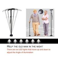 LED Light Safety Walking Stick For Old Man Folding Trekking Poles T-handle Hiking Poles Cane Walking Stick For Elders Crutch
