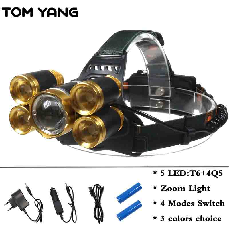 Super Power 15000LM Rechargeable Headlamp Zoomable XML T6 4Q5 LED Head Torch Waterproof 4 Modes Headlight