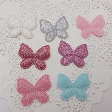 sew on Glitter felt patches for clothes 3cm butterfly shape 100pcs scrapbooking accessories