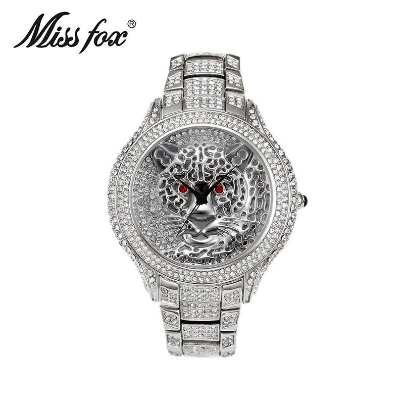 Miss Fox Top Brand Fashion Ladies Watches gold Starry Stainless women watch round case Tiger Quartz Analog Wristwatches montre