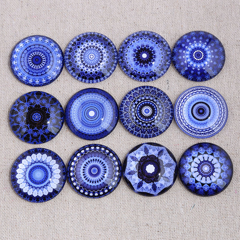 Reidgaller Mix Blue Mandala Photo Round Glass Cabochon 12mm 14mm 18mm 20mm 25mm 30mm Diy Earrings Pendants Findings For Jewelry