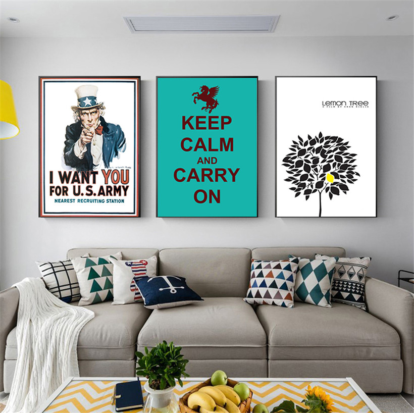 Keep Calm and Carry On World Second World War Vintage Canvas Poster Home Decor Quadros Decoration for Study Room Library Wall