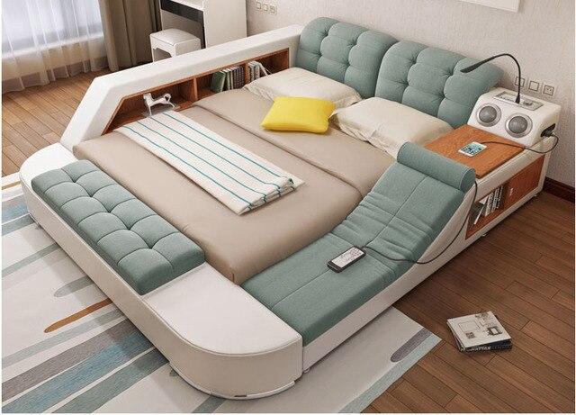 Europe and America fabric cloth bed massage Modern Soft Beds Home Bedroom Furniture cama muebles de dormitorio / camas quarto 2