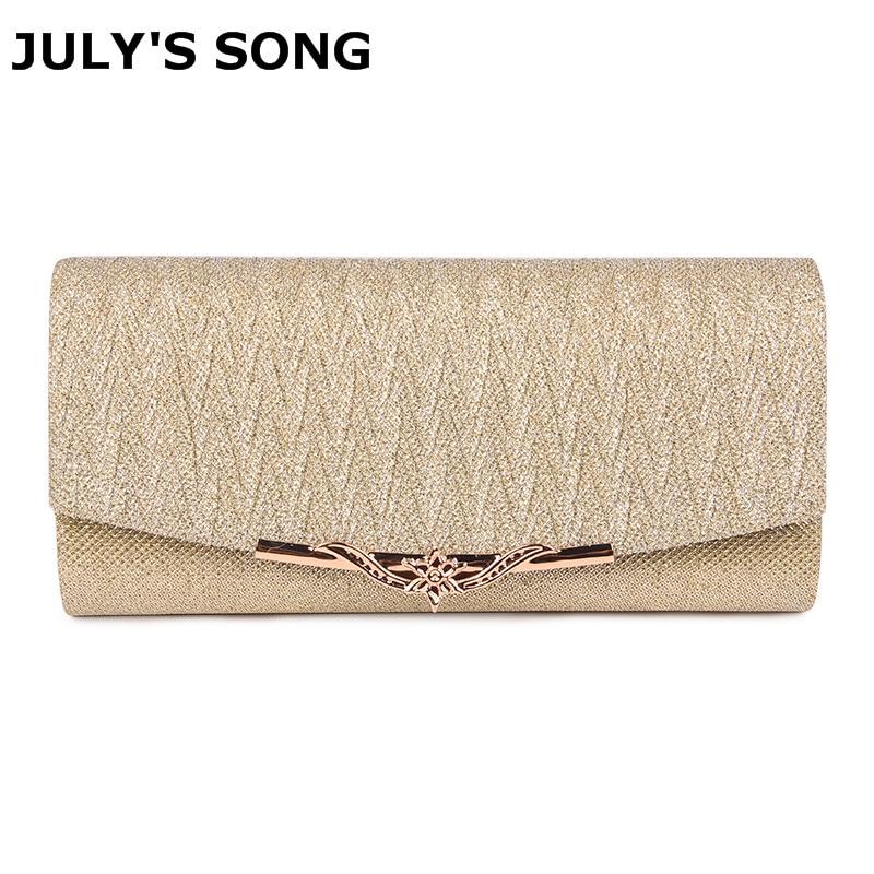 JULY'S SONG Shiny Women Evening Bag Wedding Clutch Bag With Chain Luxury Glitter Party Bridal Ladies Handbags Bolsa Mujer