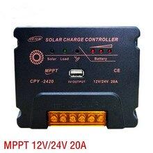 Contrôleur de système de production dénergie solaire, MPPT, 12v, 24v, 20a, identification automatique de la tension de la batterie, USB5V1A