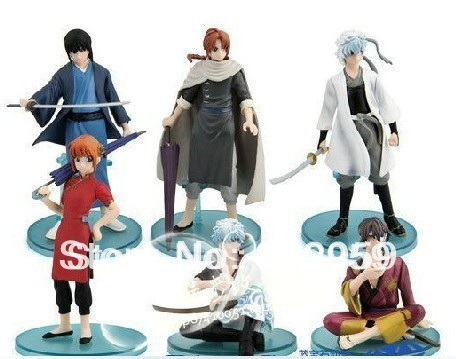 Free shipping 6pcs/set Anime Gintama pvc figure Cosplay plush action Toy figure Animal Doll gift 8-15cm