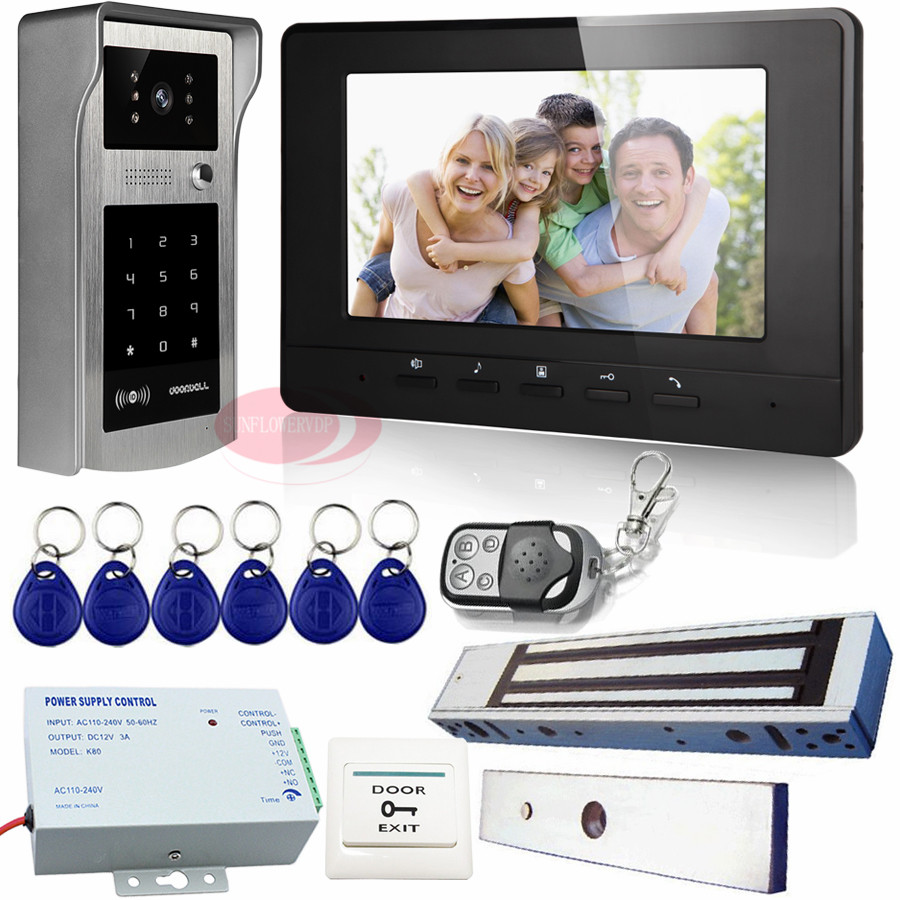 Access Control Video Door entry Intercom Systems Rfid+Code Unlock Outdoor Unit  home Video Intercom+Magnetic Lock For Apartment