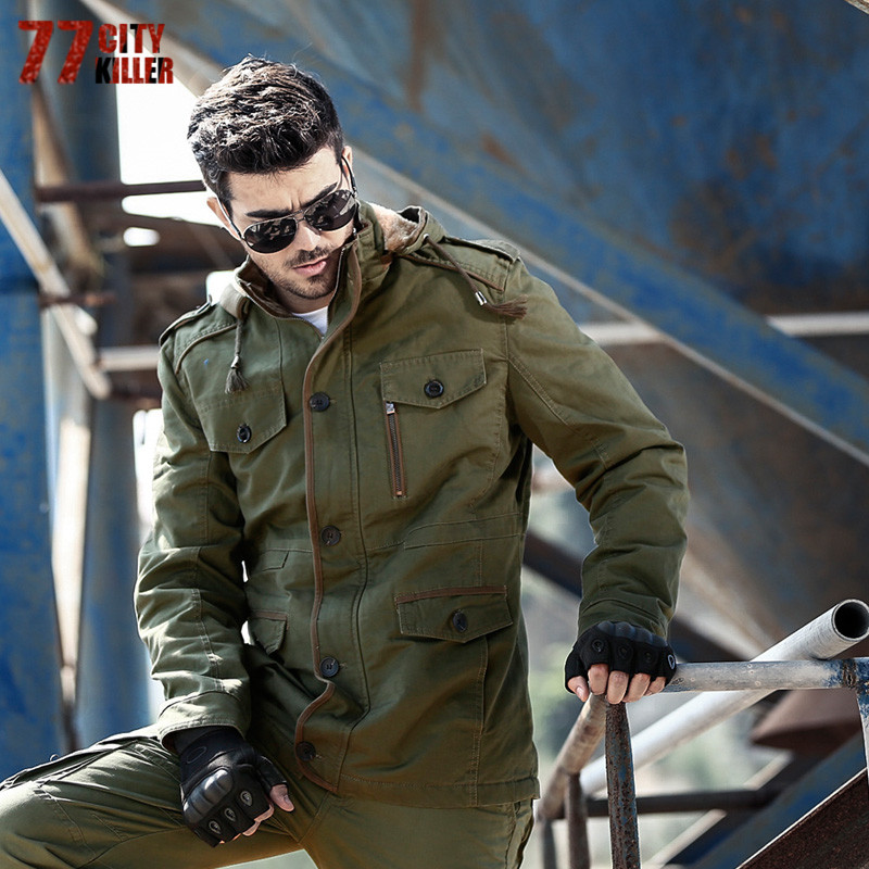 77City Killer Winter Casual Jackets Men Windproof Solid Warm Coat 100% Cotton Hooded Military Jacket Plus Size Thicken 8808A