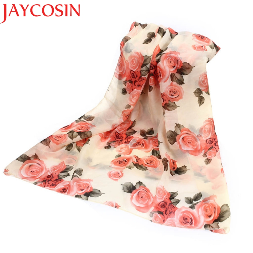JAYCOSIN New Fashion Women Fashion Rose Flower Chiffon Scarf Long Shawl Wraps  Drop Shipping