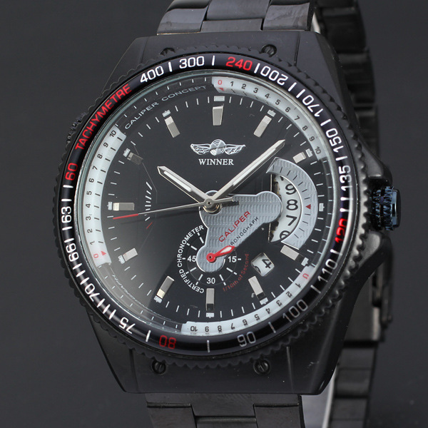 WINNER Hot Sell Men Watches Quality Auto Mechanical Self-wind Wristwatches Fashion Luxury Sports Alloy Metal Band