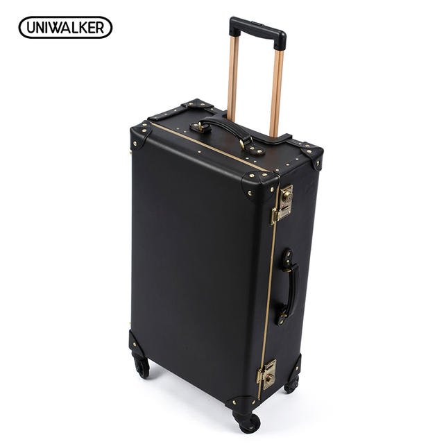 Luxury Business Genuine Leather Trolley Suitcase Pilot Captain Rolling Luggage Men's Travel Case Board Chassis Case Women Brown