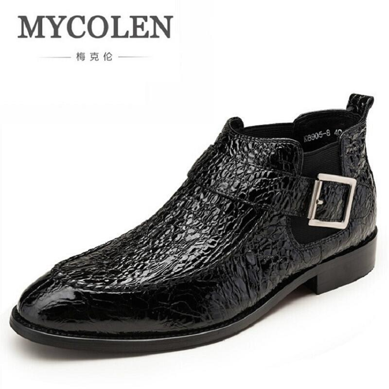MYCOLEN Men Winter Boots Genuine Leather Ankle Martin Boots Pointed Toe Buckle Strap Cowhide Brand Men Boots Botas Hombre red men wedding dress shoes pointed toe ankle boots genuine leather botas hombre cowboy military boots metal decor men flats