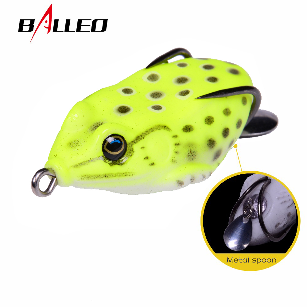 Balleo soft lure 6cm/12g fishing soft frog Lure Snakehead fishing wobbler silicone bait with metal spoon fishing lure trulinoya ray frog style soft plastic fishing lure bait green