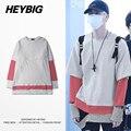 Diseño Caliente del otoño Coreano Hombres Hiphop Tee 3 colores Empalmados retro Hueco-Hacia fuera T-shirt HEYBIG 2016 NUEVOS tops de rayas Tamaño chino
