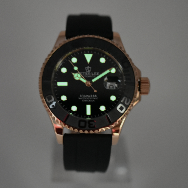 PETER LEE Herrenuhr Top marke Luxus Zifferblatt 42mm Keramik Rotatig Lünette Geschäfts Clock Wasserdichte Silikon Automatische Mechanische-in Mechanische Uhren aus Uhren bei  Gruppe 3