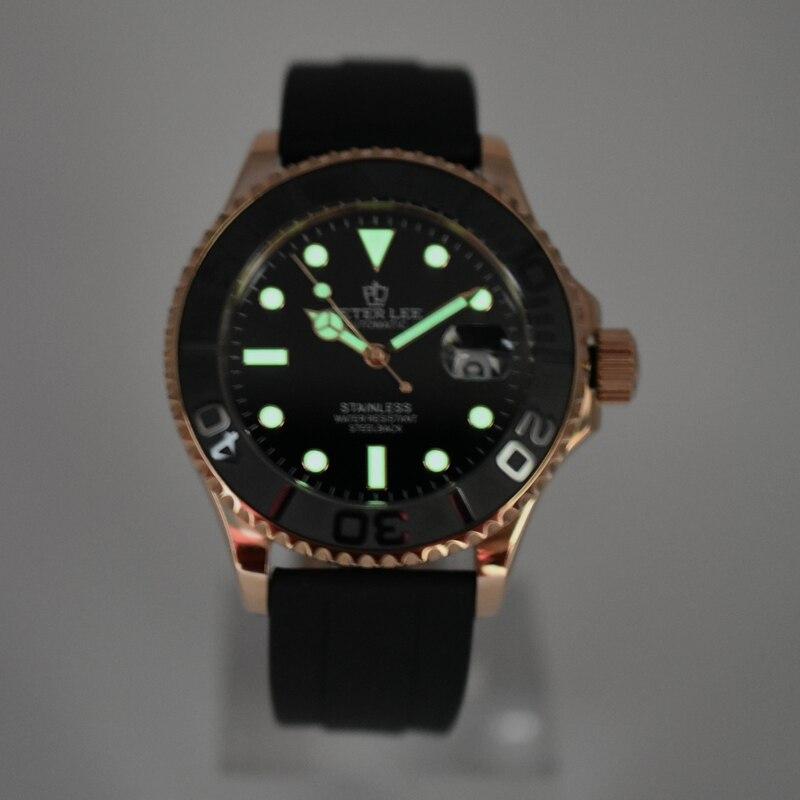 Peter lee mens 시계 탑 브랜드 럭셔리 다이얼 42mm 세라믹 회전 베젤 비즈니스 시계 방수 실리콘 자동 기계-에서기계식 시계부터 시계 의  그룹 3