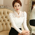 New Women Casual Basic Autumn Winter Lace Chiffon Blouse Top Shirt patchwork OL blusas Elegant Embroidery Hollow out Plus Size