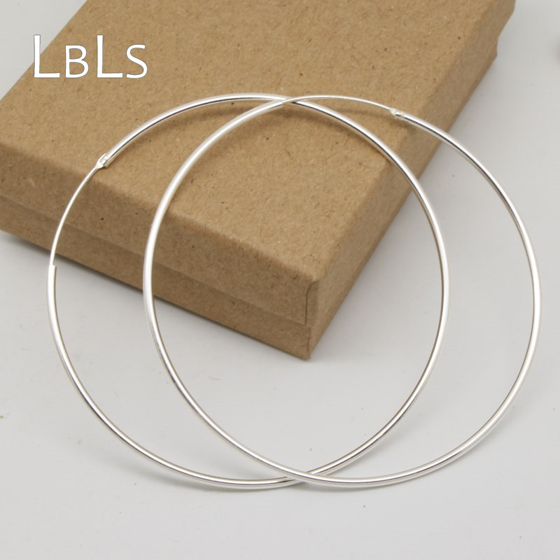 Big Big Size 70mm/7cm Real 925 Sterling Silver Hoop Earrings for Women Girls Circles Earrings Silver Round Earrings bamboo big hoop earrings
