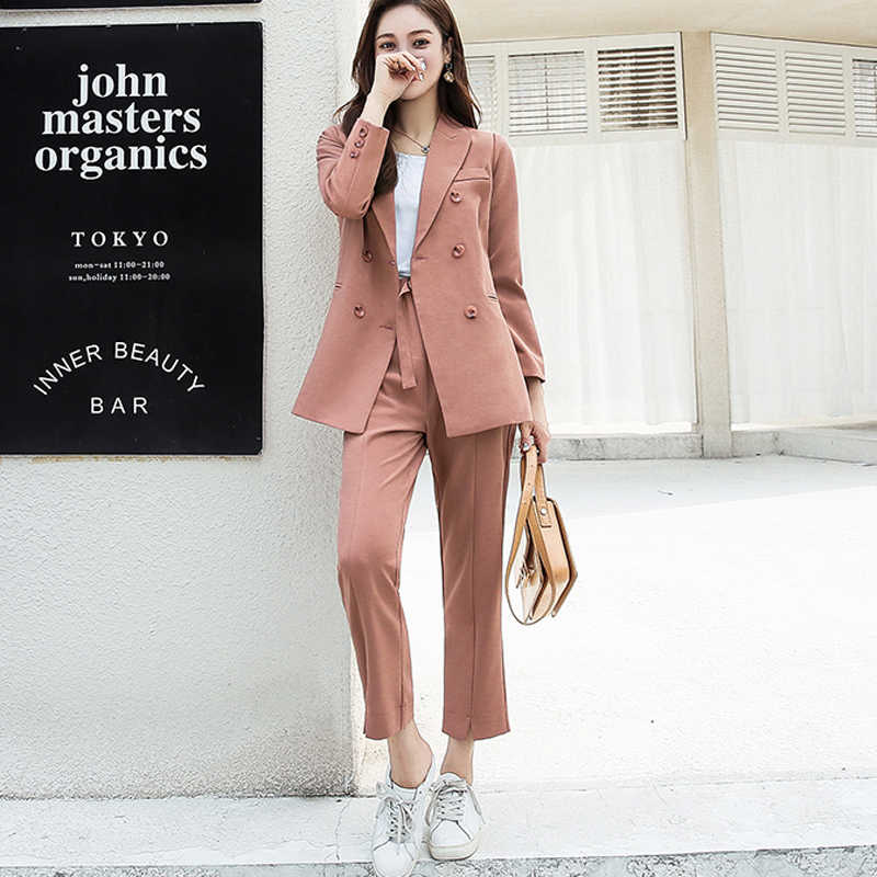 Autumn Women Pant Suits Double Breasted Notched Collar Jacket Blazer & Sashes Pant Casual Female Work Suits 2018 high quality