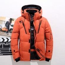 Мужской модный пуховик, зимнее пуховое пальто, парка, белый утиный пух, Короткая секция, уплотненная деловая куртка, пальто с капюшоном