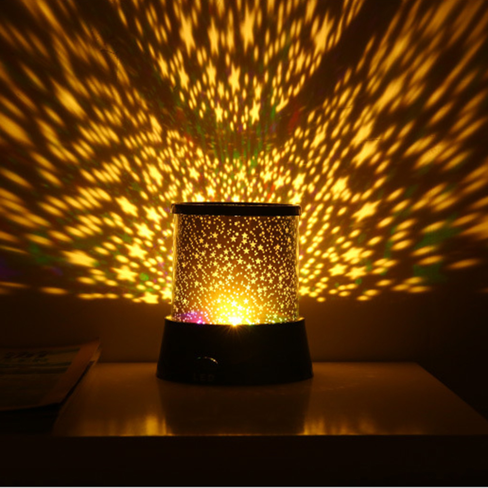 LED Starlight Projection Lamp Battery Powered Round Night Light Romance Gypsophila colorful Star lights for bedside bedroom
