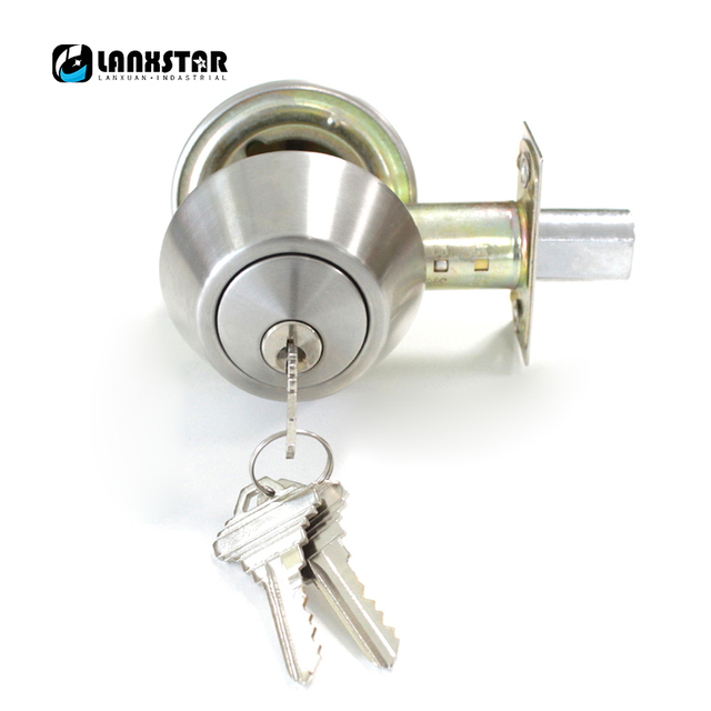 Manufacturer Whole Stainless Steel Double Deadbolt Security Door Lock With Key Satin Nickel Entrance Room