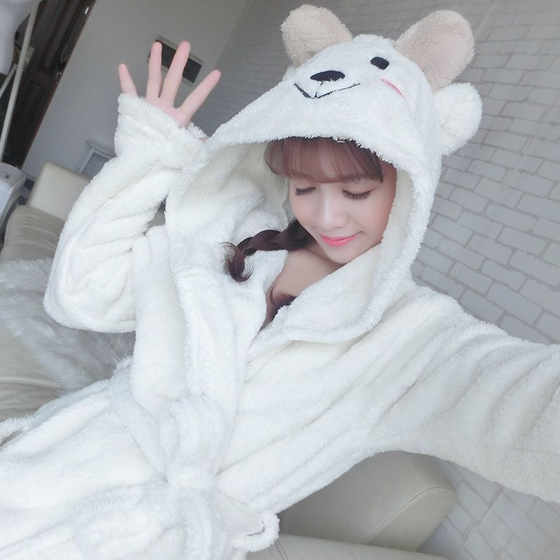Robe Female 2018 Winter Warm Bathrobe Kigurumi Cute Soft Sleepwear Cotton Terry Robe Home Clothing Women Pyjamas High Quality