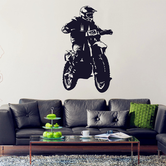 Motocycle Wall Decal Extreme Sports Vinyl Stickers Dirt Bike Wall