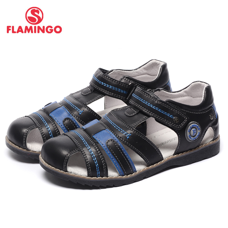 FLAMINGO name brand shoe 2017 new arrival Spring & Summer mixed color blue black genuine leather sandals for boys 71S-XDB-0190