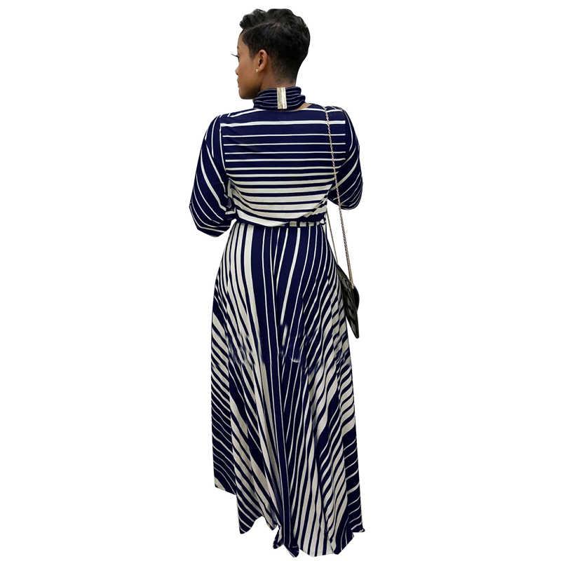 Adogirl Fashion Striped Print Plus Size Women Maxi Dress Elegant Sexy Deep V Neck 3/4 Sleeve Sashes Slim Robe Long Party Dresses