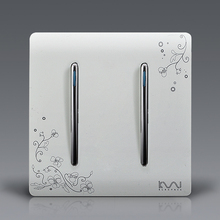Manufacture Kempinski Brand Luxury Wall Switch, 2 Gang 1 Way, Ivory White, Brief Art Weave, Light Switch, AC 110~250V