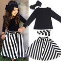 Fashion Baby Kids Girl 4 Pcs Party Solid Tops Full  Sleeve T-shirt+Striped Skirts+Bow Headband+Belt Outfits Set Sundress Casual