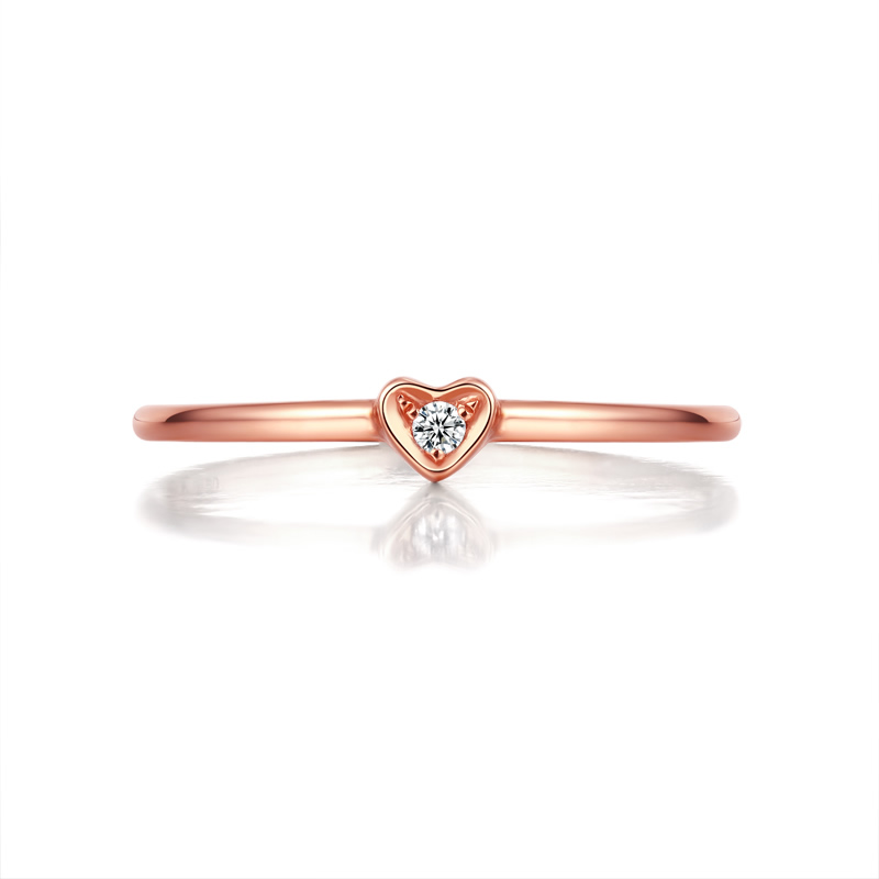 ANI 18K Rose Gold (AU750) Wedding Ring 0.01 CT Certified I/SI Round Cut Diamond Heart Shape Engagement Rings for Lovers Proposal doll chateau andre bjd sd doll dc aoaomeow