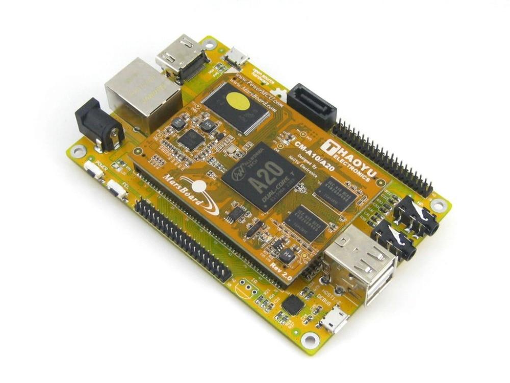 ФОТО MarsBoard A20 Lite mini PC Allwinner A20 Dual core ARM Cortex A7 Mali-400 GPU Flexible Designed 1GB DDR3 8GB Nand Flash
