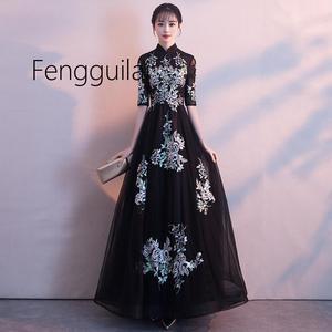 Image 2 - 2019 Truyền Thống Thêu Hoa Sườn Xám Sang Trọng Nửa Tay Phụ Nữ Trung Quốc ĐẦM VINTAGE Phương Đông Cưới Cô Dâu