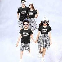 Family look outfit plaid mother daughter dresses mother and son clothes summer mom baby dress clothing family matching clothes