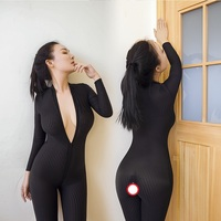 2017 Fashion Sexy Women Dress Lingerie Tight Open Crotch Striped Sheer Body Stocking Smooth Plus Size
