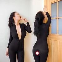 2017 mode Sexy frauen kleid Dessous Engen Geöffneter Gabelung Striped Sheer Body stocking Glatte plus größe fremden dinge strumpfhosen