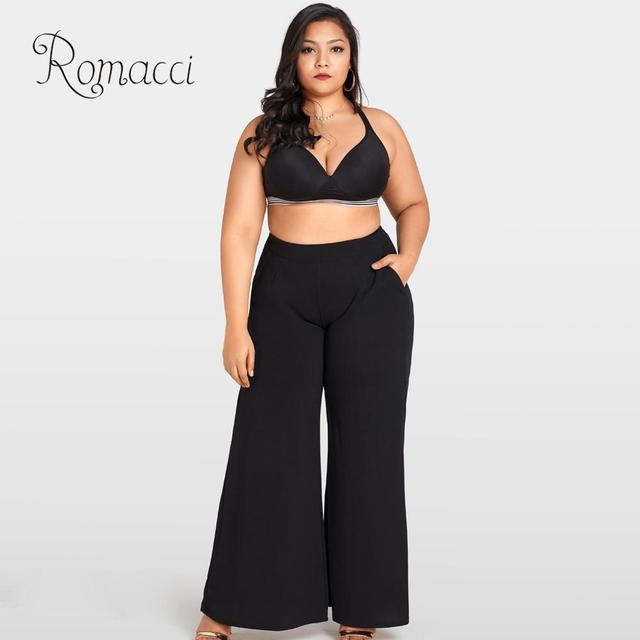 US $16.5 44% OFF Romacci Plus Size Wide Leg Pants High Waist Casual Loose  Trousers for Women Pockets Solid Flare Pants Black Pantalon Femme 2019-in  ...