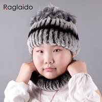 Raglaido winter hats scarves for kids 2017 Real rex rabbit fur hand knitted fashion warm snow beanie ring scarf set LQC1005