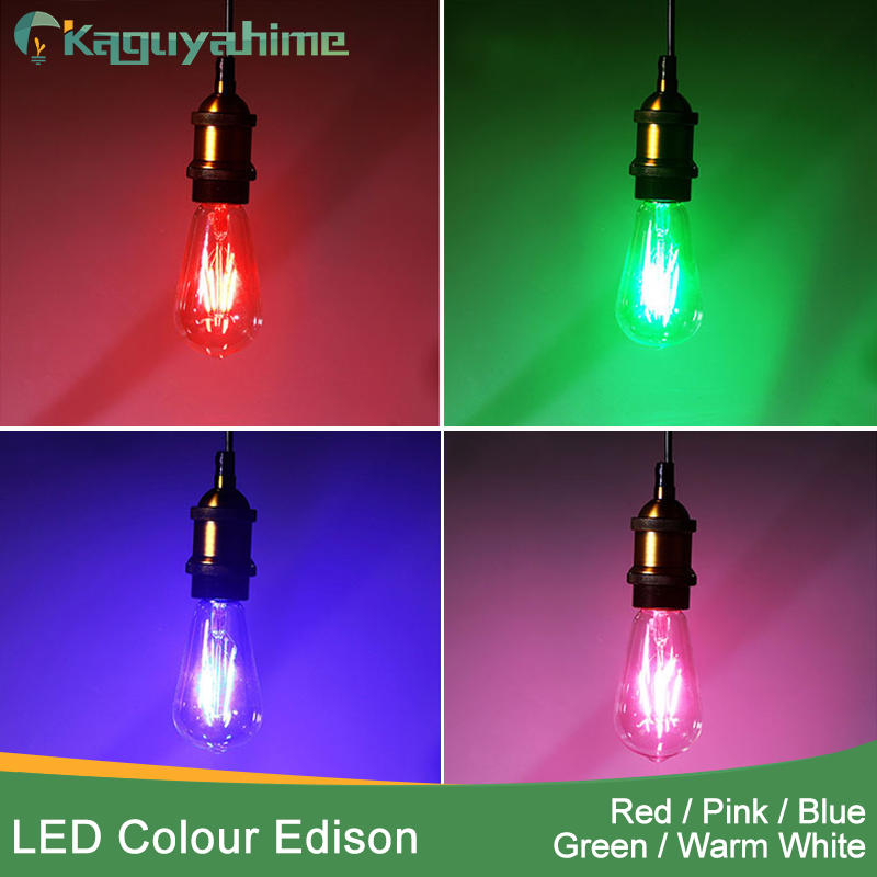 Kaguyahime NEW Blue Red Pink Green Color Led Edison Filament Light ST64 COB LED Bulb Lamp 220v E27 Retro Globe Replace
