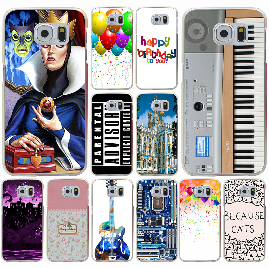 Keyboard Digital Piano Vintage floral love is the flower Hard Transparent for Galaxy S3 S4 S5 & Mini S6 S7 S8 edge S6 Edge Plus