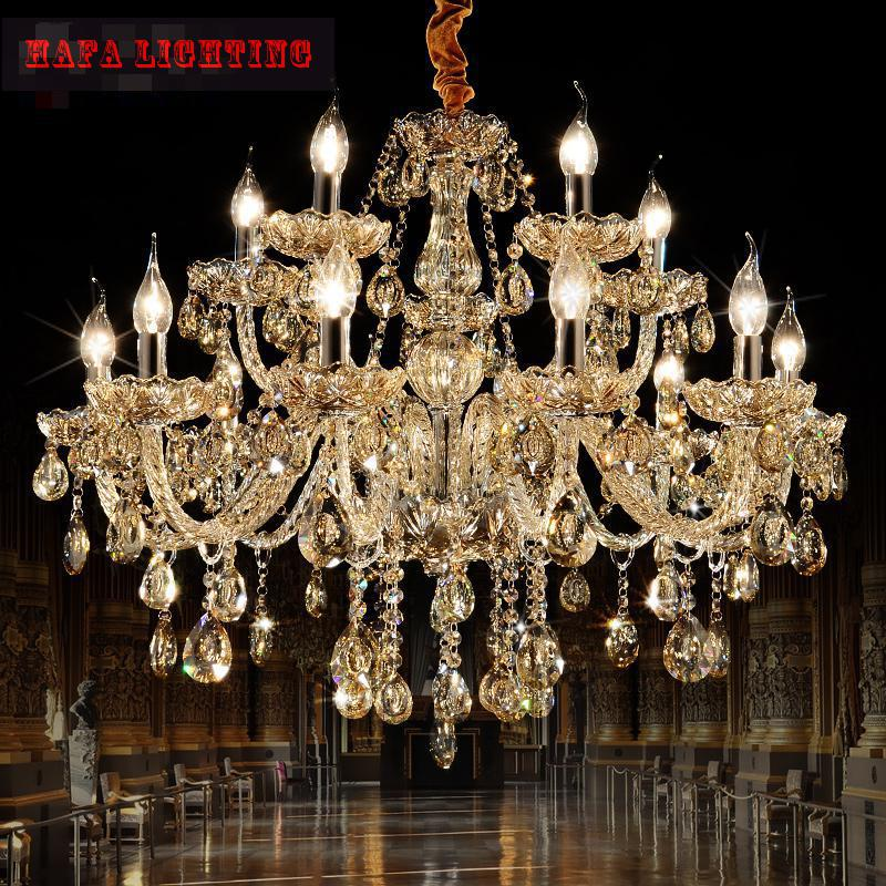 15 arms European Style Candle luxury crystal Chandelier  Modern Crystal Chandelier Lustres Home Lighting Lustre De Teto Lights hot selling perforated lustres de teto european luxury double helix stair pendant lights 100% crystal guarantee
