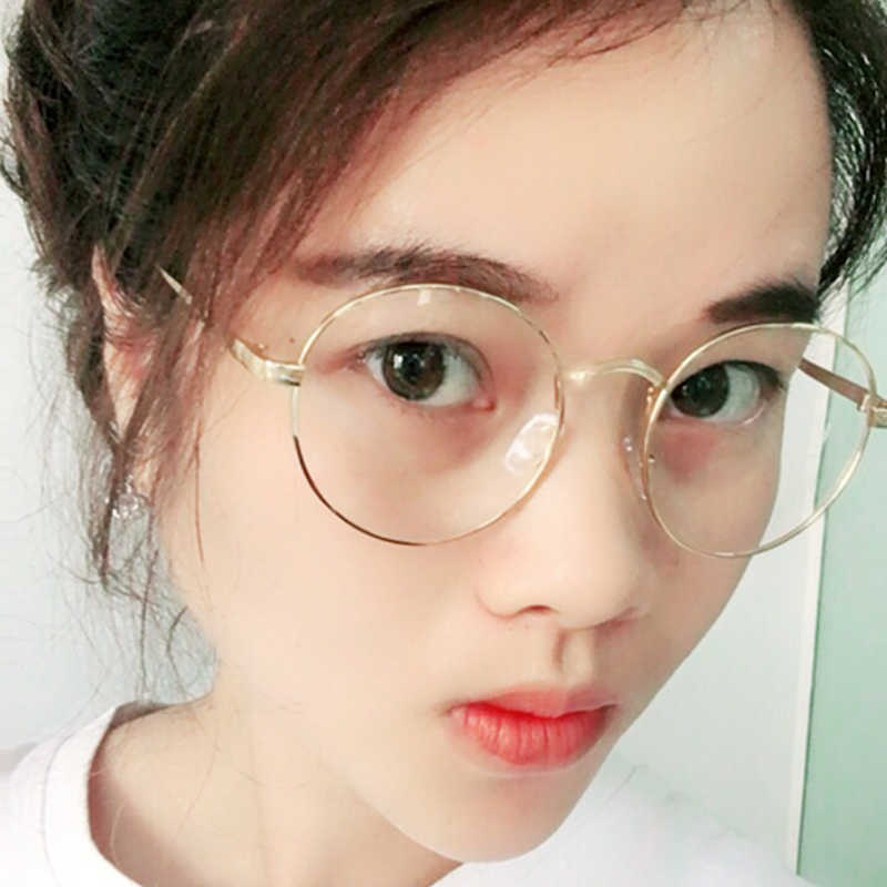 f33b3cf7b1f6 LongKeeper Oversized Korean Round Glasses Frame Clear Lens Women Men Retro  Gold Eyeglass Optic Frame Eyewear