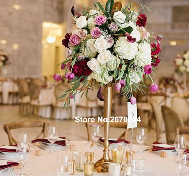 Round Tall Trumpet Wholesale Table Mental Iron Vases For Flower Ball